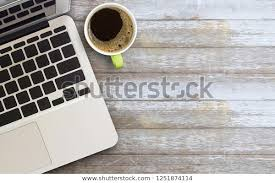 laptop computer cup coffee stock photo