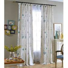 Blue Leaf White Curtains Living Room Ceiling Drapes 2 Panels Anady Top