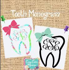 Tooth Decal Monogram Dental Health Decal Yeti Decal Car Etsy