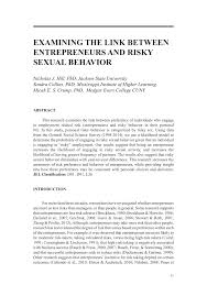 PDF) EXAMINING THE LINK BETWEEN ENTREPRENEURS AND RISKY SEXUAL BEHAVIOR