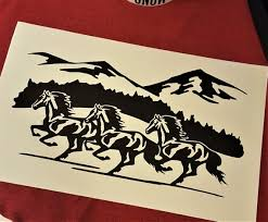 Horse Mountain Car Decal Equestrian Decal Horse Sticker Etsy