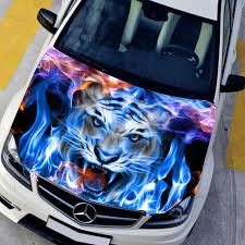 Diy Car Styling Hd Inkjet Blue Flame Angry Tigers Hood Stickers Car Waterproof Film Animal Stickers 135 150cm Change Color Film Car Styling Hood Stickerfilm Animations Aliexpress