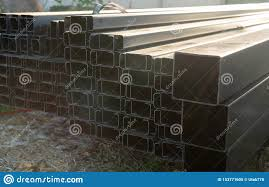 Rectangular Metal Pipes Stock Image Image Of Background 153771605