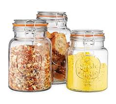 glass canister fresh set of 3 round jar