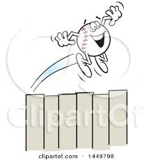 Clipart Graphic Of A Cartoon Happy Homer Baseball Mascot Flying Over A Fence Royalty Free Vector Illustration By Johnny Sajem 1449798