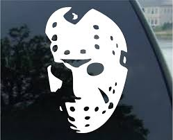 Amazon Com Crawford Graphix Jason Hockey Mask Friday The 13th Car Truck Vinyl Decal Sticker 7 White Automotive