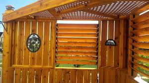 Upper Level Louvered Cedar Treehouse Built Using Flex Fence Hardware Kit Patio Projects Building A Treehouse Backyard Fences