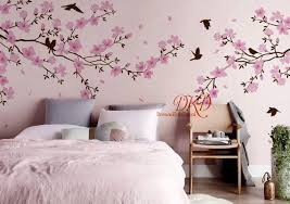 Nursery Wall Decal Wall Sticker Large Blooming Tree Wall Decal With Pink Flower Decal For Slant Vinyl Tree Wall Decal Nursery Wall Decals Nursery Wall Stickers