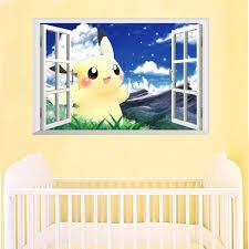 3d Cartoon Pikachu Pet Elves Through Wall Stickers For Children Room Wall Art Decals Decor Pokemon Go Game Posters Aliexpress