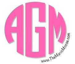 Hot Pink Monogram Car Decal Round Initial Monogram Etsy
