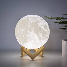 Amazon Com Brightworld Moon Lamp Moon Night Light 3d Printing 7 1in Large Lunar Lamp For Kids Gift For Women Usb Rechargeable Touch Contral Brightness Warm And Cool White Home Kitchen