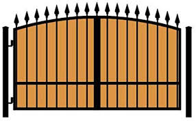 Amazon Com Standardgates Wooden Wrought Iron Driveway Gate Kit 10 Ft 0 In Solo Swing Single Pickets Vertical Ironwood Arched Finials Garden Outdoor