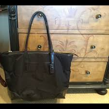 black nylon and leather tote bag