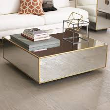 mirror and wood coffee table floating