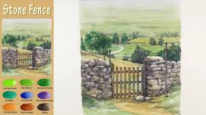 Landscape Watercolor Stone Fence Wet In Wet Arches Rough Namil Art Youtube