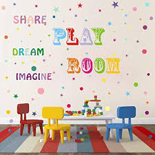 Amazon Com Playroom Decal Share Imagine Dream In Rainbow Colors Children Wall Decal Playroom Decor Classroom Decal Kid Wall Art Removable Peel Stick Wall Decals Arts Crafts Sewing