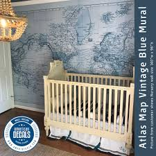 Nursery Wall Decal Mural Vintage World Atlas Map Wall Fabric Decal