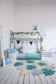 Mint And Grey Kids Room Interior Idea With Puzle Rug Carpet Toddler Bed House Shaped Bed Nursery Wood Hous Kids Interior Room Kids Room Grey Childrens Beds