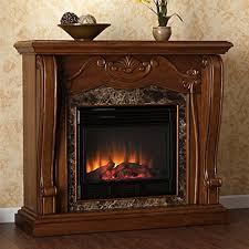 walnut stacked stone electric fireplace