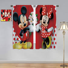 Amazon Com Bedroom Blackout Curtains Mickey Minnie Mouse Curtains Mickey Minnie Mouse Window Curtain Drape For Bedroom Living Room 42x45 Inch Home Kitchen
