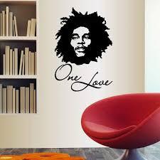 Wall Vinyl Decal Home Decor Art Sticker One Love Bob Marley Face Reggae Singer Celebrity Musician Bedroon Living Room Removable Stylish Mural Unique Design 2413 Amazon Com