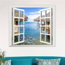 3d Artificial Window View 3d Wall Decals Sea View Room Stickers Home Wall Decor Gift Alexnld Com