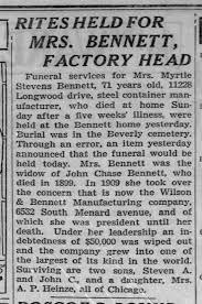 Myrtle A. Stevens Bennett, obit - Chicago Tribune (Chicago, IL) 25 Sep  1935, Wed. - Newspapers.com