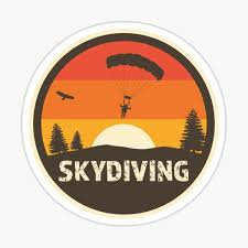 Skydive In Cool Retro Classic Colors With Distressed Text Sticker By Kongsgart Redbubble
