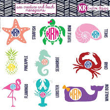 Sea Creatures Beach Monogram Vinyl Decal Starfish Symbol Car Sticker Crab Iphone Vinyl Whale Laptop Dec Monogram Vinyl Decal Beach Monogram Vinyl Monogram