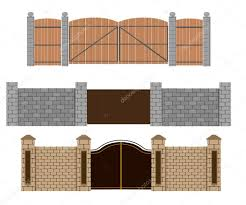 Pictures Wooden Gate Designs Fence Vector Illustration Brick Fence And Wood Fence Different Designs Of Fences And Gates Isolated On A White Stock Vector C Alfadanz Stock Gmail Com 112909574