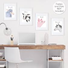 Farm Animals Wall Art Prints Room Decor For Baby Nursery And Kids By Sweet Jojo Designs Set Of 4 Watercolor Farmhouse Horse Cow Sheep Pig Only 29 99