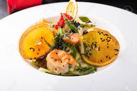 Asian Seafood Salad Served With Shrimps ...