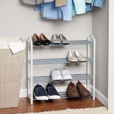 Mainstays 4 Tier Shoe Rack White With Steel Shelves Walmart Com Walmart Com