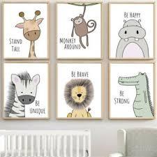 Giraffe Animal Poster Nordic Kid Room Nursery Decor Hanging Wall Painting Canvas Ebay