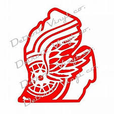 Detroit Red Wings Logo Inside Michigan Outline Sticker Decal Etsy