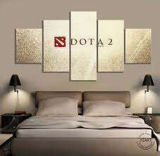 5 Panels Dota 2 Logo Picture Oil Painting On Canvas Wall Art Home Decor Dota Video Games Art Wall Decor Paintings Bedroom Decor Leather Bag