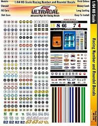 Ultracal Hi Def Decals Racing Numbers Roundels Slot Car Decal 1 64 Scale 3100 By Innovative 3100