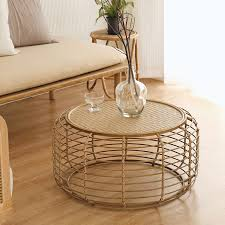 handmade rattan round coffee table with