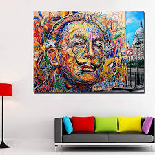 Amazon Com Faicai Art Salvador Dali Colorful Portrait Oil Painting Wall Art Pop Art Canvas Posters Prints For Kids Room Living Room Home Decoration Framed Ready To Hang 24 X36 Posters Prints
