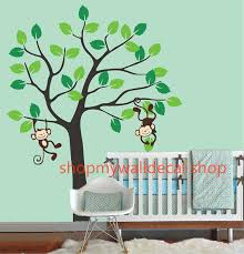 Simple Tree With Cute Monkey Playing Leaf Leaves Trees Cubs Room House Wall Sticker Art Murals Stick On Luulla