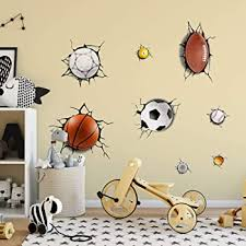 Amazon Com Supzone Sport Wall Stickers 3d Wall Decals Break Through The Wall Removable Vinyl Diy Basketball Rugby Baseball Football Wall Decor Boys Playroom Bedroom Classroom Living Room Kitchen Dining