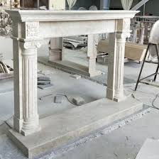 white marble stone fireplace mantle