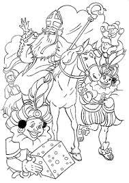 Sinterklaas Kleurplaat Sint Piet Paard Kado Sinterklaas