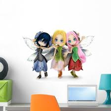 Three Little Fairy Friends Wall Decal Wallmonkeys Com
