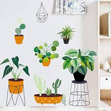 Amazon Com Green Potted Plants Peel And Stick Wall Decal Removable Pvc Bonsai Wall Stickers Creative Leaf Mural Decoration For Decor Girls Boys Kids Nursery Baby Home Living Room Bedroom Kitchen 39x27 6in Home