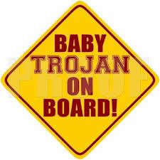 Amazon Com Usc Baby Trojan On Board Car Decal Collegiate Edition Automotive Usc Trojan Usc Trojans