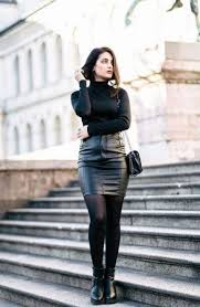 ideas how to wear black leather skirts
