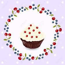 Cupcake Con Crema Batida Tarjeta De Felicitacion De Cumpleanos O