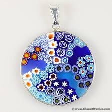 large millefiori pendant in sterling