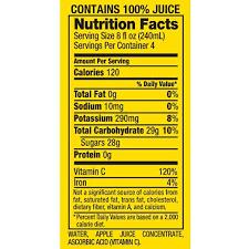 motts apple juice nutrition label